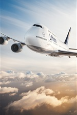 Preview iPhone wallpaper Boeing 747 plane flight in sky