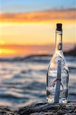Preview iPhone wallpaper Bottle, message, letter, sea, sunset