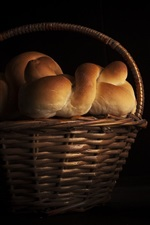 Preview iPhone wallpaper Bread, basket, black background