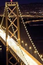 Preview iPhone wallpaper Bridge, illumination, night, city