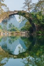 Bridge, river, trees, water reflection