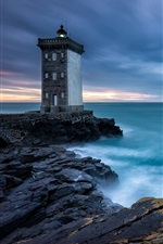 Preview iPhone wallpaper Brittany, France, lighthouse, sea, clouds, dusk