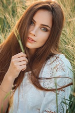 Preview iPhone wallpaper Brown hair girl, wheat field