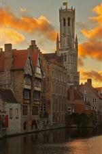 Bruges, Belgium, river, houses, clouds, dusk
