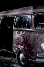 Preview iPhone wallpaper Bus, lights, night, art painting