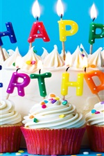 Preview iPhone wallpaper Cake, cream, Happy Birthday, candles, flame