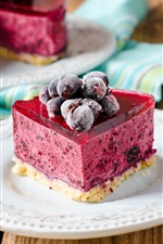 Preview iPhone wallpaper Cake, dessert, pink colors, berries