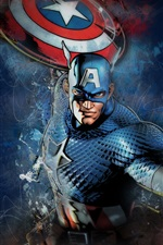 Preview iPhone wallpaper Captain America, shield, mask, Marvel comics, art picture