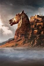 Preview iPhone wallpaper Castle, horse, desert, mountains, art design