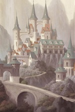 Preview iPhone wallpaper Castle, mountains, art painting