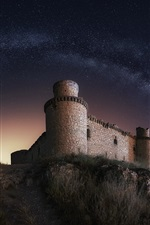 Preview iPhone wallpaper Castle, night, starry