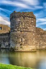 Castle, river, sky, ruins