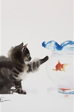 Preview iPhone wallpaper Cat and goldfish, watercolor painting