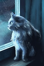 Preview iPhone wallpaper Cat look at the window, rainy, art picture