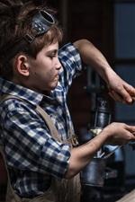 Preview iPhone wallpaper Child boy repair robot