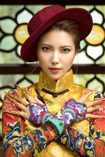 Preview iPhone wallpaper Chinese girl, hat, beautiful dress