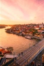 Preview iPhone wallpaper City, bridge, river, roads, dusk