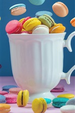 Preview iPhone wallpaper Colorful macaroon, cake, white cup