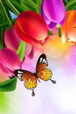 Preview iPhone wallpaper Colorful tulip flowers, butterfly, art picture