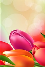 Preview iPhone wallpaper Colorful tulips, glare, art picture
