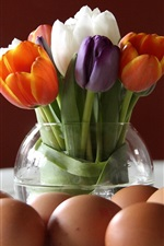 Preview iPhone wallpaper Colorful tulips, vase, eggs