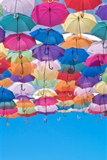 Preview iPhone wallpaper Colorful umbrellas, blue sky