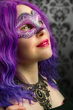 Preview iPhone wallpaper Cosplay girl, purple hair, mask