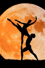 Preview iPhone wallpaper Creative picture, silhouette, boy and girl, lovers