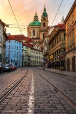 Preview iPhone wallpaper Czech Republic, Prague, city, street, cars, houses