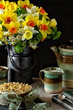 Preview iPhone wallpaper Daffodils, cups, milk, lamp, books, still life