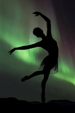 Preview iPhone wallpaper Dancing girl, silhouette, ballerina, Northern lights