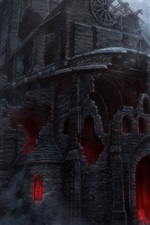Darkness, castle, ruins, horror, art picture