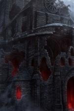 Escuridão, castelo, ruínas, horror, imagens de arte