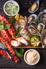 Preview iPhone wallpaper Delicious seafood, fish, oysters, shrimp