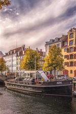Denmark, Copenhagen, river, city, ships, cars