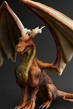 Preview iPhone wallpaper Dragon, mythology, wings, 3D design