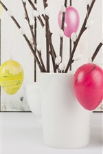 Eggs, cup, plates, white style, Easter