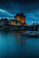 Preview iPhone wallpaper Eilean Donan Castle, Scotland, night, lake
