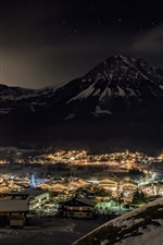 Preview iPhone wallpaper Ellmau, Tyrol, Austria, city, night, snow, lights