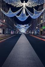 Preview iPhone wallpaper England, Christmas, Regent Street, night, festive lights