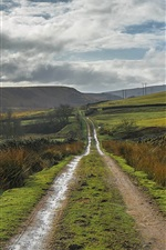 England, Derbyshire, Peak District, road, hills, clouds, countryside