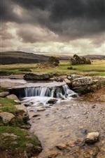 iPhone壁紙のプレビュー イングランド、モータウン、川、厚い雲
