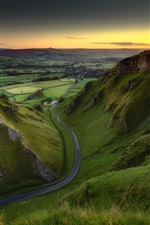 Preview iPhone wallpaper England, Peak District, green fields, road, sunrise, morning