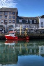 iPhone fondos de pantalla Inglaterra, Plymouth, Barbican, casas, río, barcos, reflejo de agua