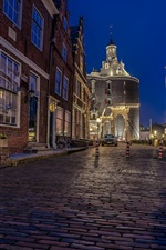 Preview iPhone wallpaper Enkhuizen, Netherlands, night, street, lights