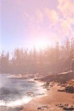 Fallout 4, árvores, praia