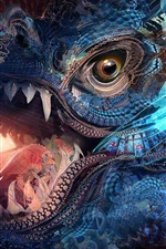 Preview iPhone wallpaper Fantasy art, colorful, texture, dragon