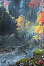 Fantasy art painting, mountains, trees, autumn