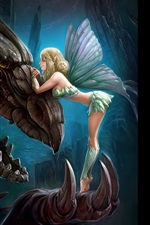 Preview iPhone wallpaper Fantasy girl and dragon, wings, art picture