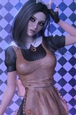 Fantasy girl, black hair, green eyes, apron